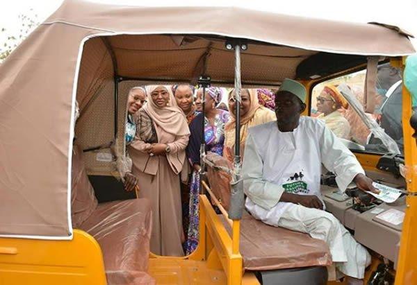 Aisha Buhari pictured riding in a keke in Katsina state