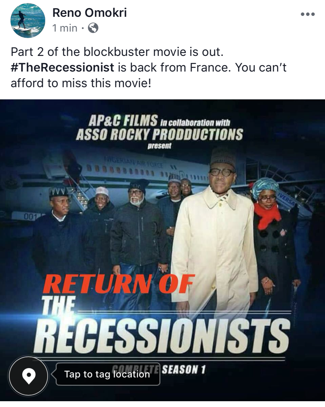Part 2: The Recessionists Are Back From France - Reno Omokri