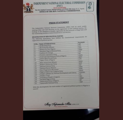 Ful List:?INEC registers 21 new political parties bringing the total to 67