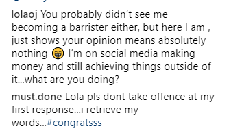 Lola OJ drags follower who said law isn