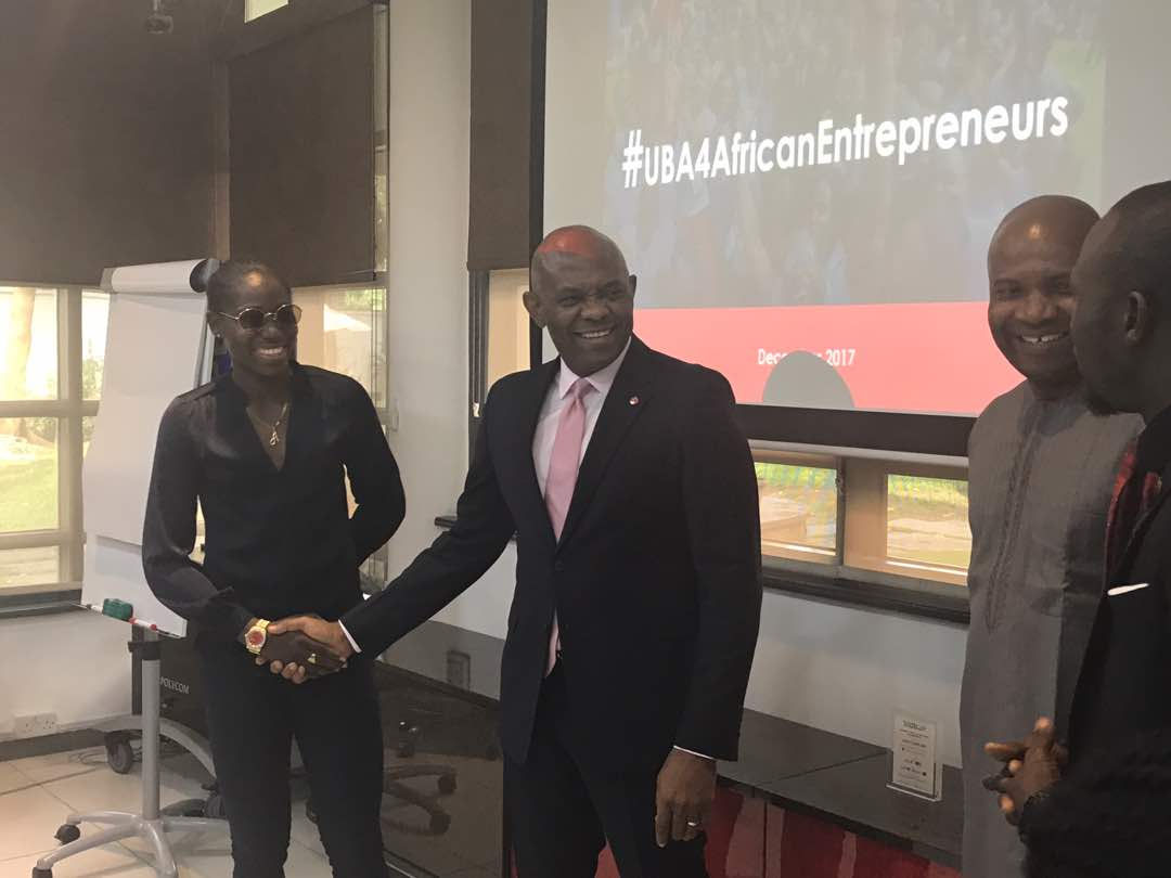 Photos:?Reigning African footballer of the year Asisat Oshoala meets?Tony Elumelu in Lagos