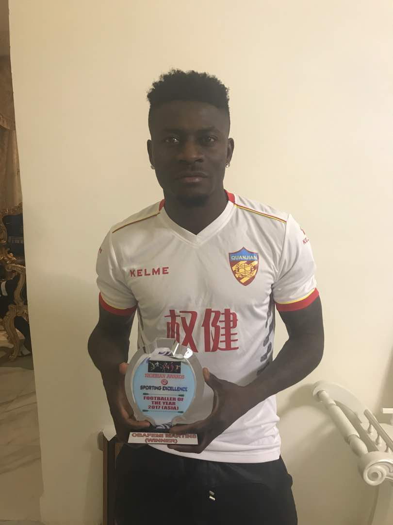 Photo:?Obafemi martins wins award for sporting excellence in?Asia