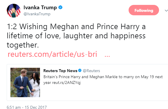 Ivanka Trump never expected the savage response she got when she tweeted at Prince Harry and Meghan Markle