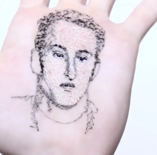 Wow! Meet the artist who sews his art onto his hand (photos/video)