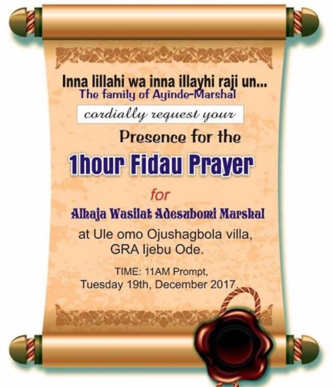 8-day fidau prayers of Kwam 1