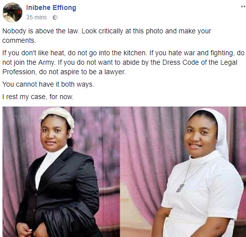 Hijab: Nigerian lawyer, Inibehe Effiong, shares photo of Nigerian nun who had to dress like a lawyer during her call to bar, reacts to NBA president Abubakar Mahmoud