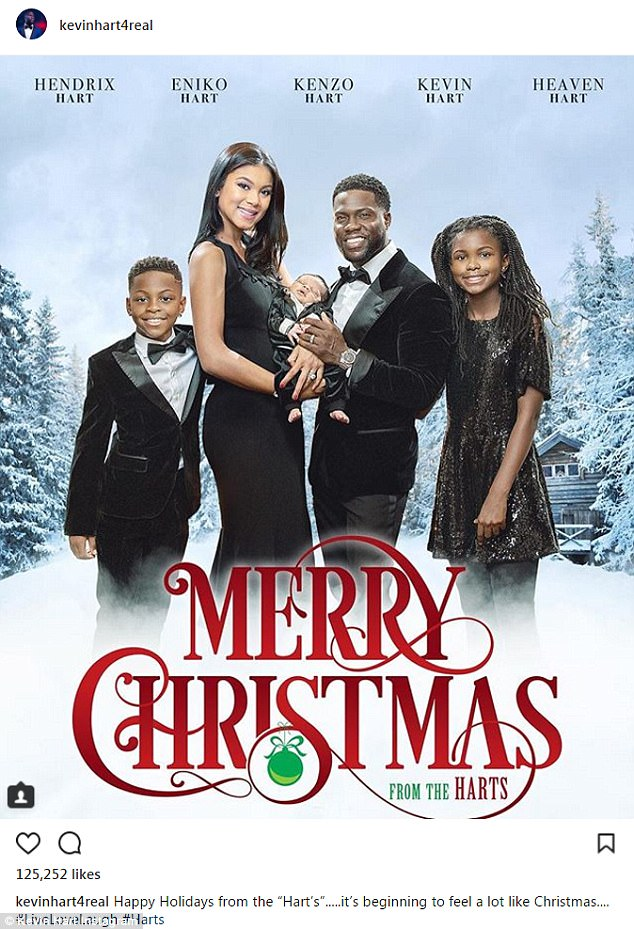 Cute Family! ?Kevin Hart shares movie-style Christmas card with his wife and kids.