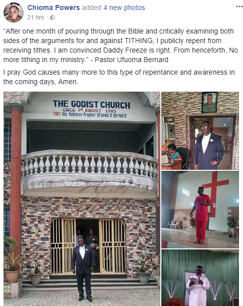 """""""No more tithing in my ministry"""": Pastor says after listening to Daddy Freeze and doing further research"""