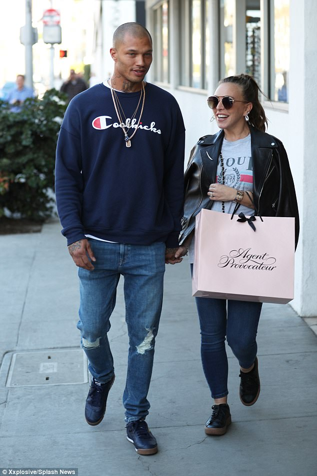 Chloe Green sparks engagement rumour as she rocks a large diamond ring while out with Jeremy Meeks in LA (Photos)