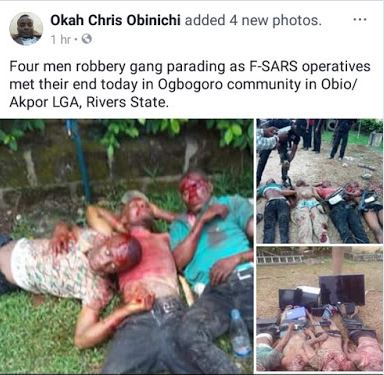 Photos: Four Fake SARS Operatives Reportedly Shot Dead In Rivers State .
