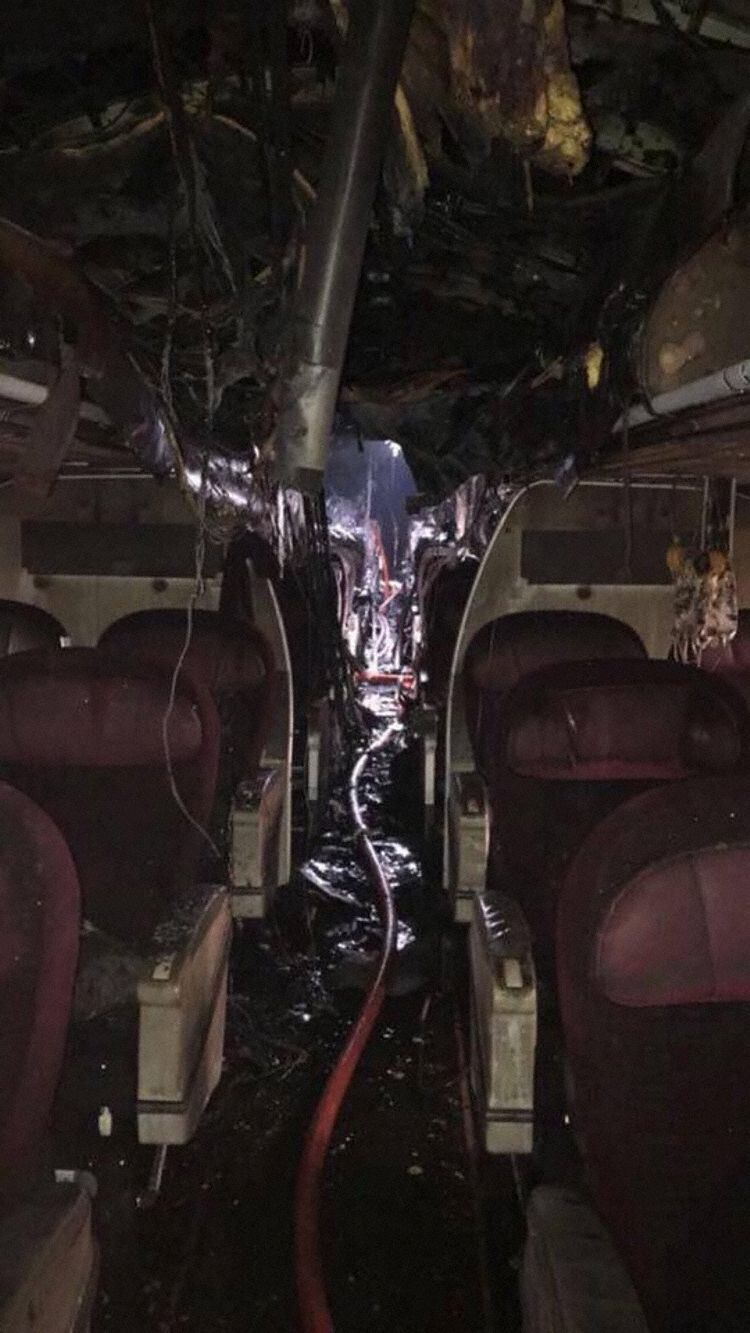Shocking pictures of Qatar Airways plane that bursts into flames (Photos)