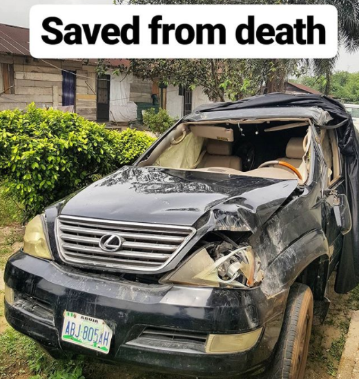 Photos: Nigerian clergyman survives ghastly car accident while heading to his son