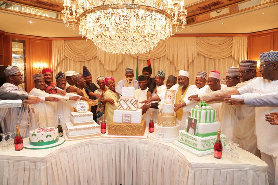 Photos; Aisha Buhari, VP Yemi Osinbajo, his wife Dolapo, state governors, Ministers, others throw President Buhari a surprise get together