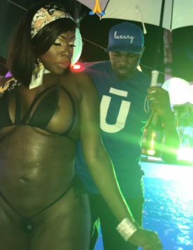 Pretty Mike strikes a pose with scantily dressed curvy IG model, Symba at a pool party ... 18+ photos