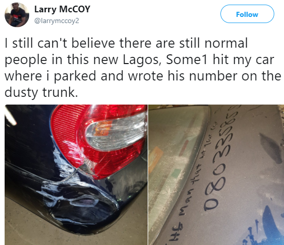 Nigerian man in shock after an unidentified man damaged his car in his absence and then dropped his telephone number to repair the car later