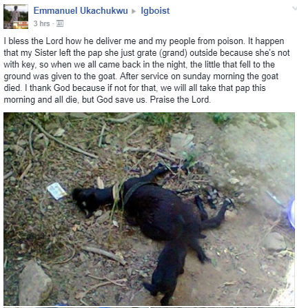 Man shares photos of his goat who died after eating poisoned pap meant for his family