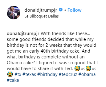 Donald Trump Jr jokes about eating Barack Obama for his birthday