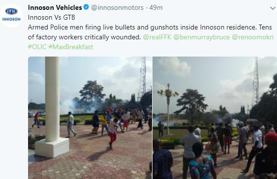 Photos: Gunshots fired as Innoson motors staff protest the arrest of their chairman, Chukwuma Innocent