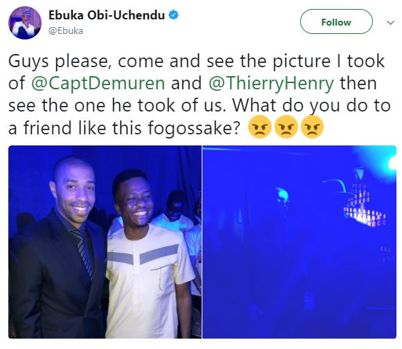 Lol. Ebuka calls out Captain Demuren for taking a blurry picture of him with Thierry Henry in Lagos