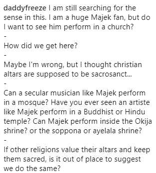 Freeze reacts to the news that pastor Biodun Fatoyinbo invited Majek Fashek to perform in COZA church