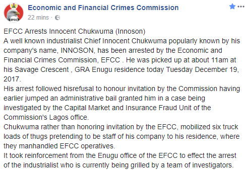 EFCC confirms the arrest of Innoson motors chairman, Innocent Chukwuma, gives reason for his arrest