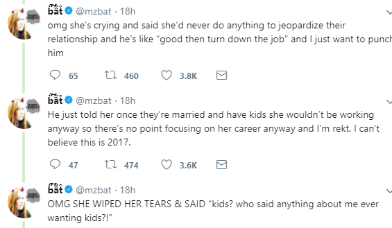 Man tells his fiancee to trun down her promotion at work because she would earn more than him and people will know she is richer than him