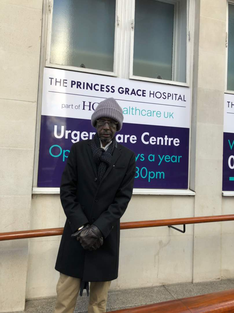 New photos of ailing veteran broadcaster, Sadiq Daba, in a UK hospital where he is receiving treatment