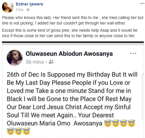 Activist, Esther Ijewere, raises alarm over a Nigerian lady