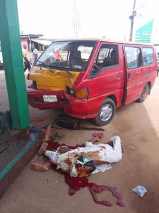Bus fails brake and crushes man taking a nap near a filling station to death in Edo state (graphic photos)
