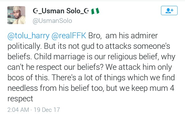 """Child marriage is our religious belief"" - says Nigerian Muslim man"