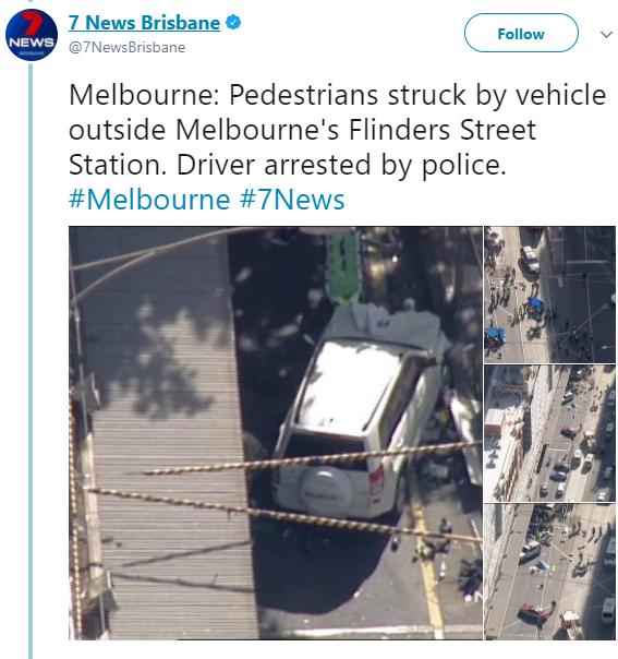 Breaking: Car ploughs into pedestrians in Flinders Street, Melbourne