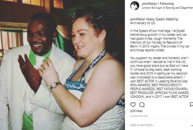 """""""I honestly will not love to celebrate my 6th anniversary this way. Married but living single"""" Yomi Fabiyi says he celebrates his 5th wedding anniversary"""