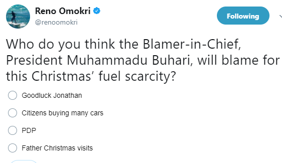 See the question Reno Omokri is asking on Twitter