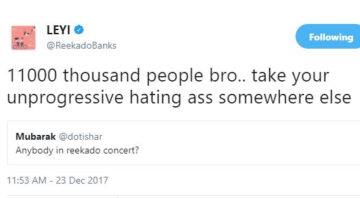 No Chill: Reekado Banks goes in hard on a Twitter user and his fans believe it