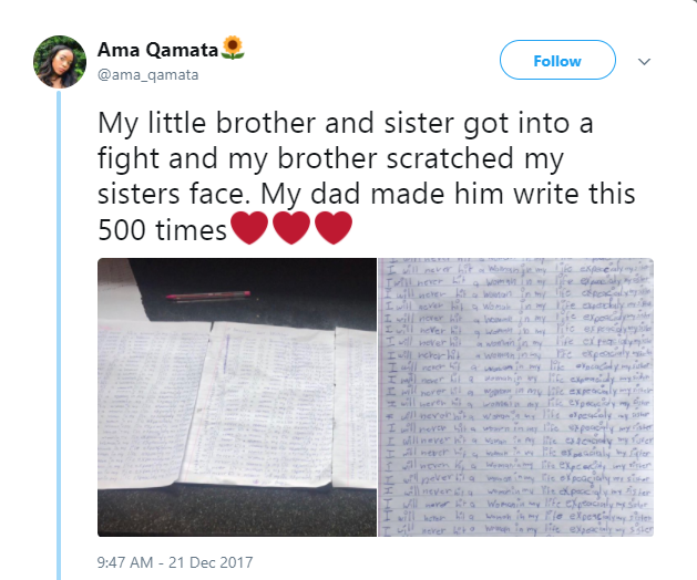 Dad orders son to write ?I will never hit a woman in my life especially my sister? 500 times, after fight with sibling (Photos)