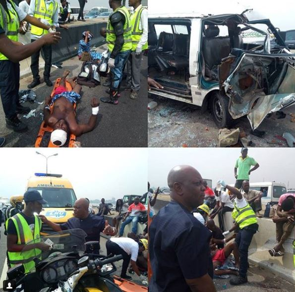 Photos: Police commissioner,?Edgal Imohimi visits accident scene in Lagos