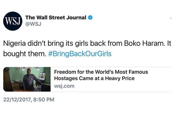 Wall Street Journal claims that Nigeria paid ?3million for the release of Chibok girls?