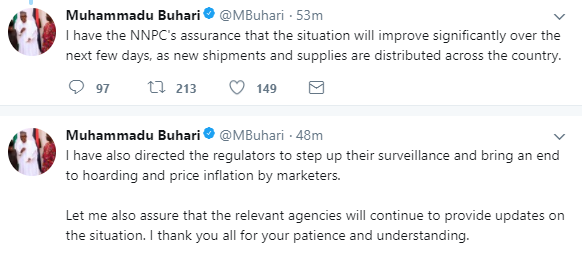 President Buhari speaks on the lingering fuel scarcity, sympathizes with Nigerians