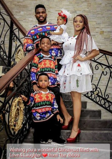 Footballer, Joseph Yobo and wife, Adaeze, release their annual Christmas card photos... they are so lovely!