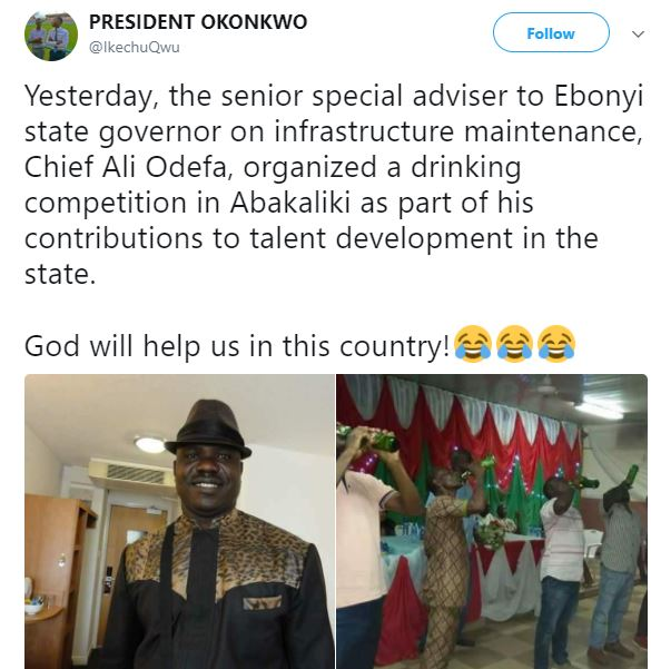 Lol!?Special assistant?to Ebonyi State governor?allegedly organizes drinking competition as contribution to talent development in the state