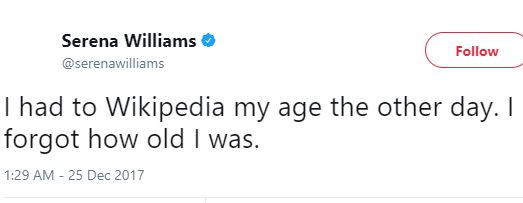 Tweet of the day from Serena Williams