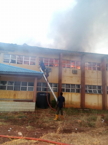 Fire guts building in IMT Enugu on Christmas day (photos/video)