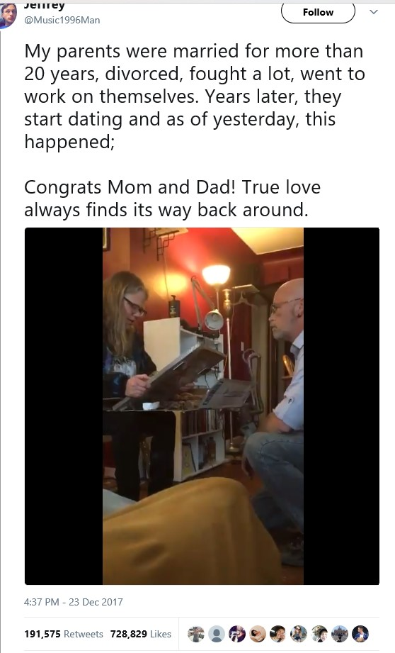 Beautiful Video: ?True love always find its way back around.? - Twitter user shares video of his dad proposing to his mum years after their divorce