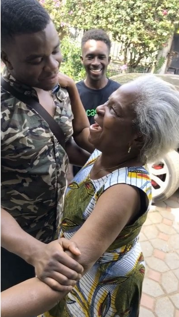 #MansNotHot: Big Shaq returns to his homeland, Ghana after 9 years, shares photo with his grandma