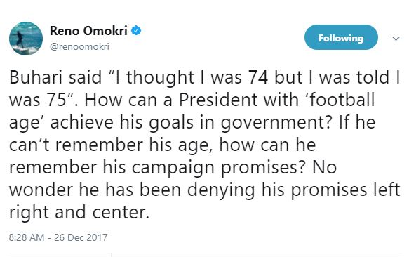 How can a President with ?football age? achieve his goals in government? - Reno Omokri to Buhari