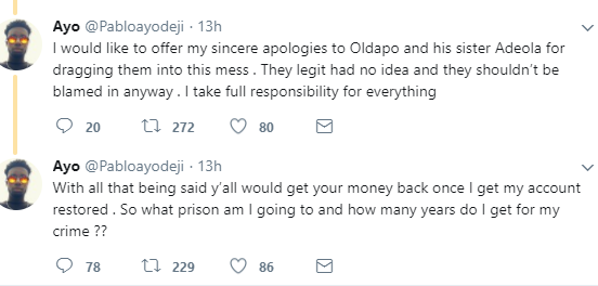 Pablo Ayodeji, the #5kbae who has been caught on twitter defrauding Nigerians before, apologizes for his latest scam, reveals why he did it