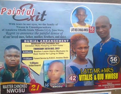 Photos: Man, his wife and three children who were allegedly poisoned by his own brother, set to be buried in Imo