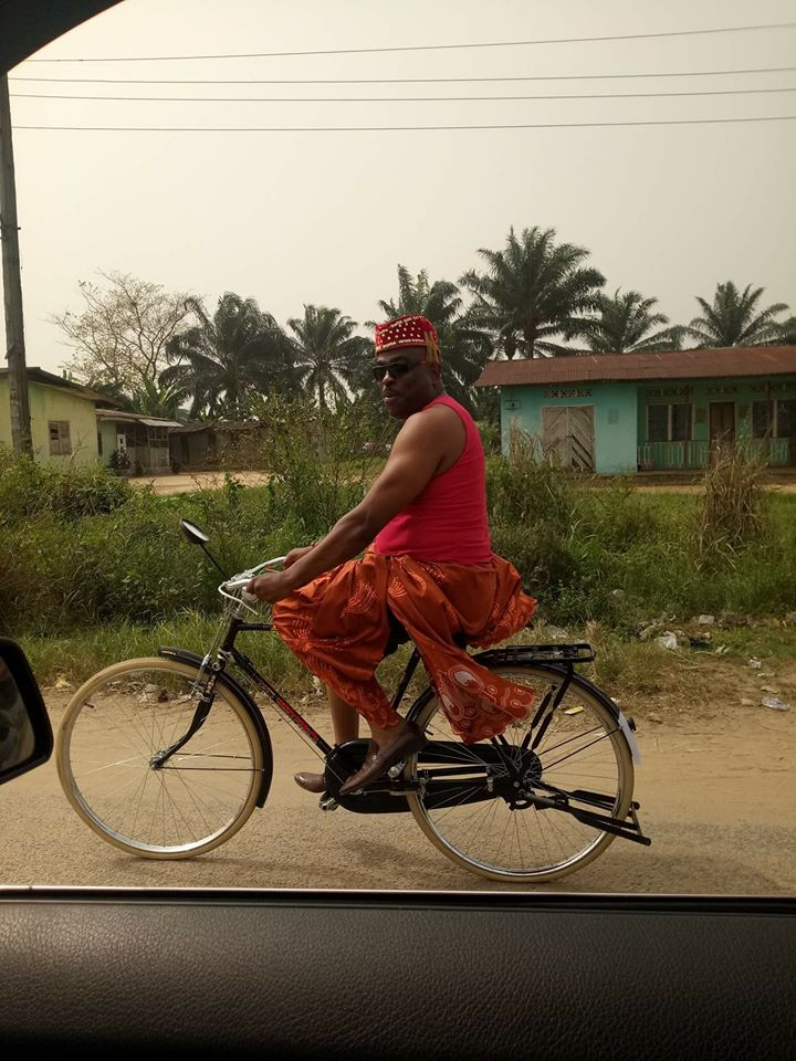 Fuel scarcity forces House of Reps member, Loveth Idisi, to ride a bicycle to an event