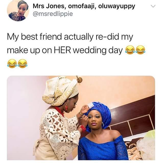 Friendship goals! Viral photo of a Nigerian bride redoing her friend