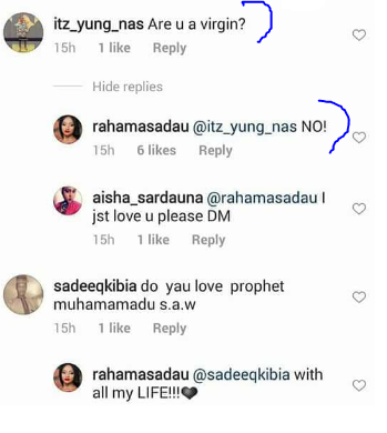 Actress, Rahama Sadau reveals her virginity status on Instagram